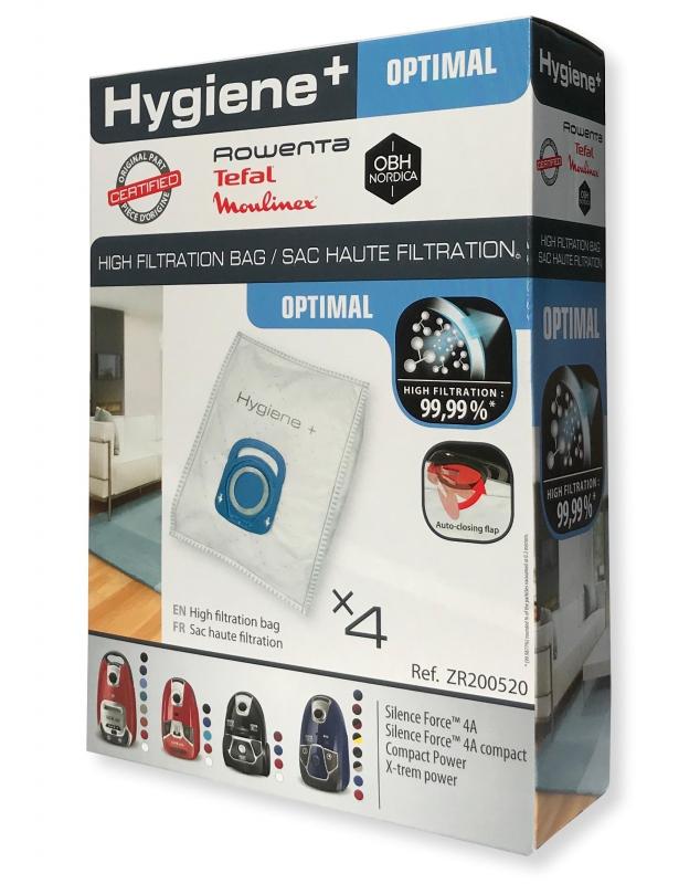 4 sacs hygiene aspirateur rowenta silence force 4a ro6432ea. Black Bedroom Furniture Sets. Home Design Ideas