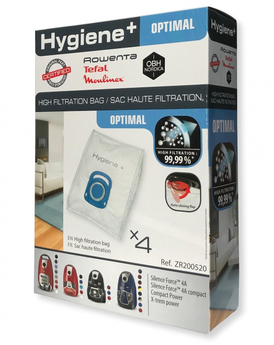 4 sacs hygiene+ aspirateur ROWENTA RO6455EA - SILENCE FORCE 4A