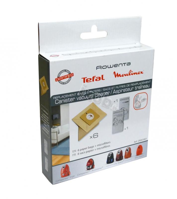 6 sacs filtre moteur pour aspirateur moulinex city space zr003901. Black Bedroom Furniture Sets. Home Design Ideas