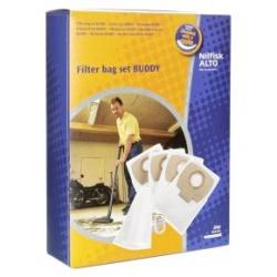 LOT DE 4 SACS POLYESTER aspirateur NILFISK BUDDY 15