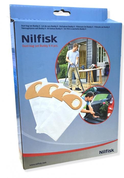 4 sacs synthétiques pour aspirateur NILFISK BUDDY II 12L