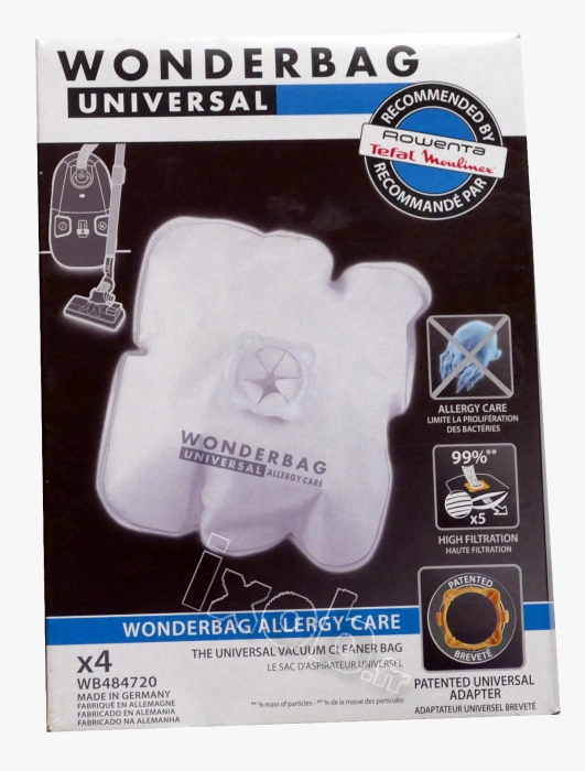 4 sacs wonderbag Allergy Care aspirateur MOULINEX AAK452 - POWERCLEAN 1250