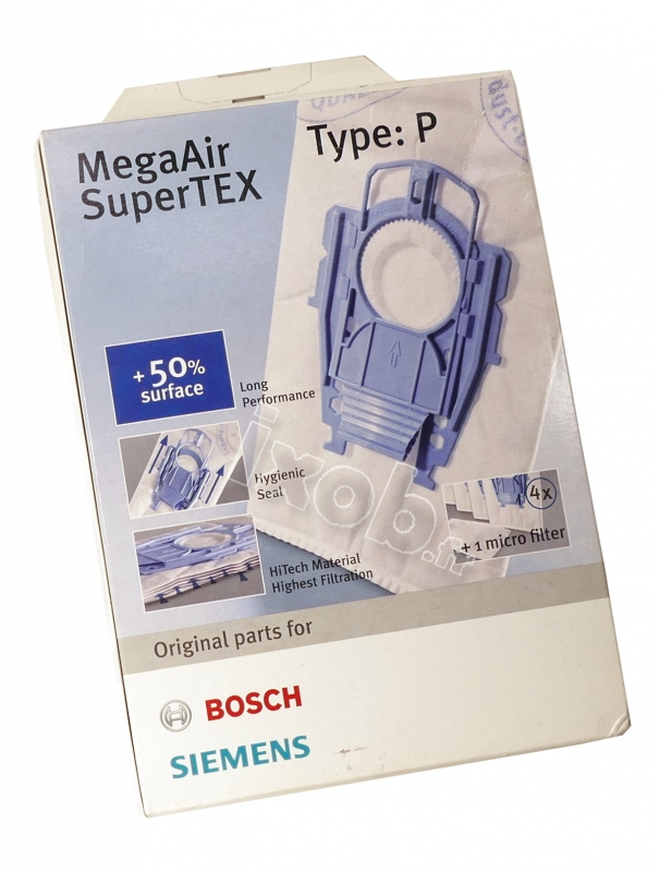 TYPE P MEGAAIR SUPERTEX pour sacs pour aspirateur Pour Bosch Série VS08G Pack de 5