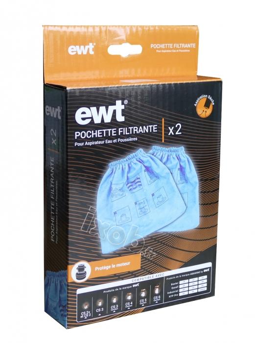 2 pochettes bleues filtrantes aspirateur AQUAVAC NTP 20 PROFESSIONAL