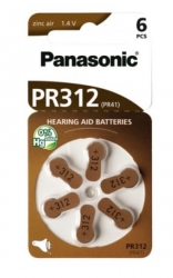 6 piles PR321 / ZA312 - PR41 pour appareil auditif