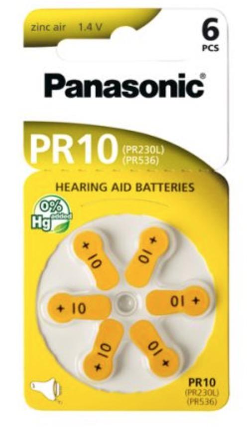 6 piles PR10 - PR230L - PR536 appareil auditif