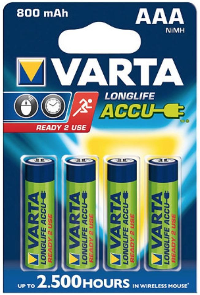 4 piles HR3 AAA 800 mAh rechargeable VARTA