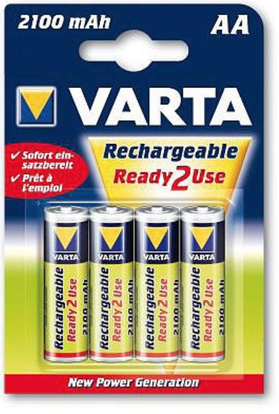 4 piles rechargeable HR6 / HR06 AA 2100 mAh - VARTA