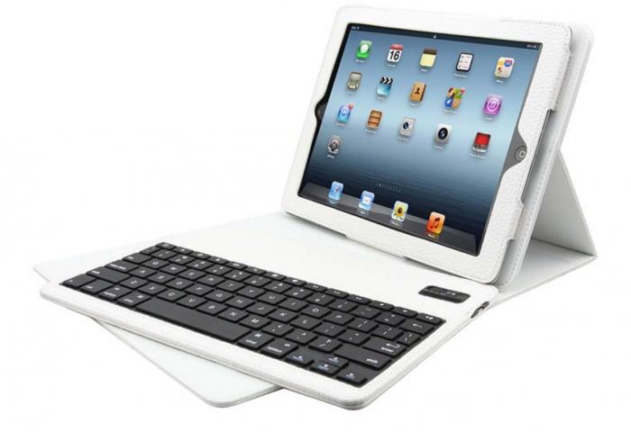 Portefolio blanc IPAD 2 avec clavier bluetooth